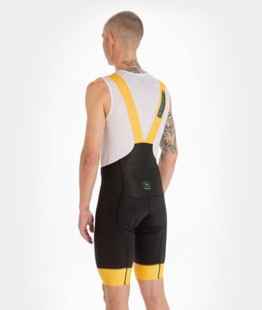 Cycling bib shorts mens 4cyclists evo aero echelon yellow back