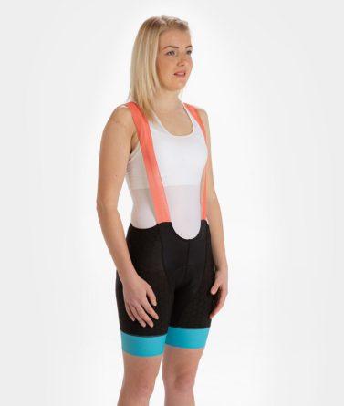 Cycling bib shorts womens 4cyclists evo shield prime salmon