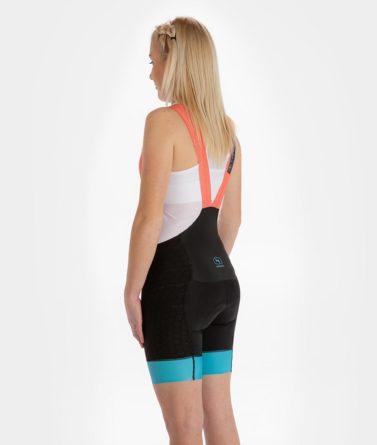 Cycling bib shorts womens 4cyclists evo shield prime salmon back
