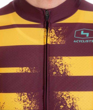 Cycling jersey mens 4cyclists evo race echelon yellow zipper
