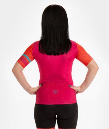 Cycling jersey womens 4cyclists evo aero prime fuchsia back