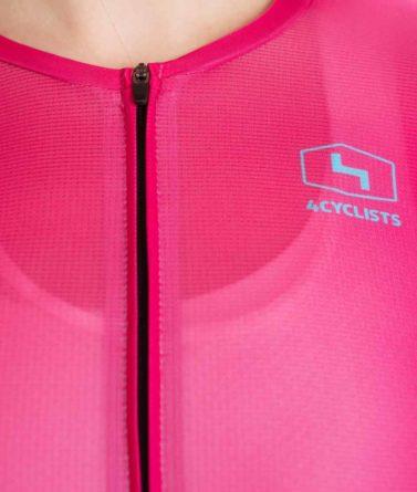 Cycling jersey womens 4cyclists evo aero prime fuchsia zipper