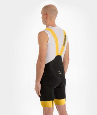 Cycling bib shorts mens 4cyclists evo shield echelon yellow back