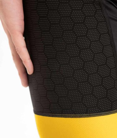 Cycling bib shorts mens 4cyclists evo shield echelon yellow details