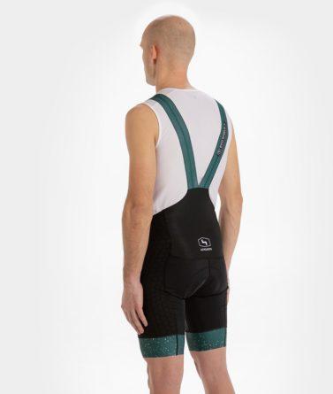Cycling bib shorts mens 4cyclists evo shield jam green back