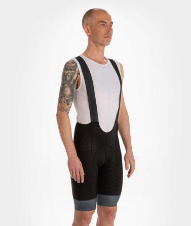 Cycling bib shorts mens 4cyclists evo shield prime black