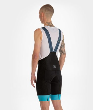 Cycling bib shorts mens 4cyclists evo shield prime blue back