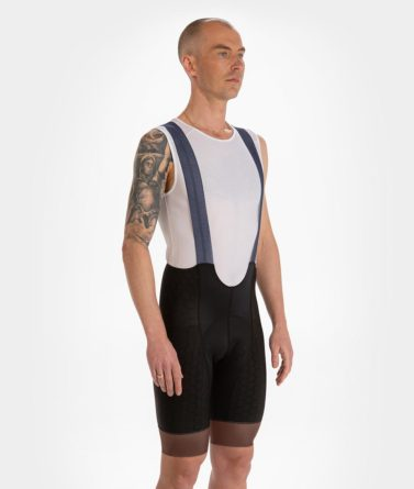 Cycling bib shorts mens 4cyclists evo shield prime dark blue