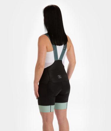 Cycling bib shorts womens 4cyclists evo aero prime moss green back