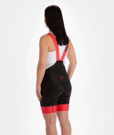 Cycling bib shorts womens 4cyclists evo race jam red back