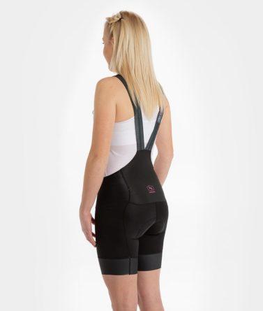 Cycling bib shorts womens 4cyclists evo race prime black back