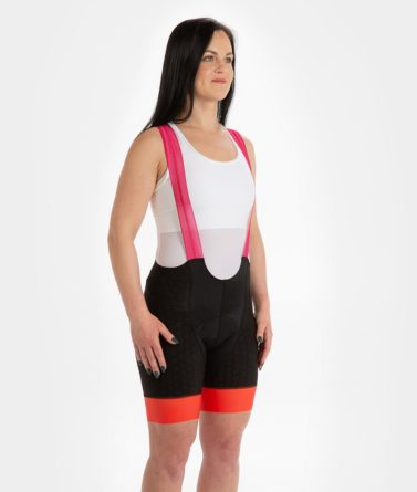 Cycling bib shorts womens 4cyclists evo shield prime fuchsia
