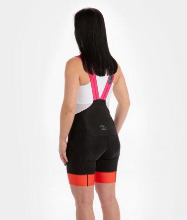 Cycling bib shorts womens 4cyclists evo shield prime fuchsia back