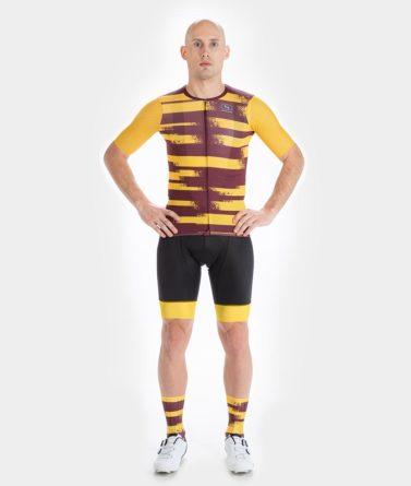 Cycling jersey bib shorts bundle mens 4cyclists evo aero echelon yellow