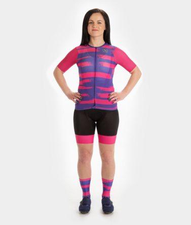 Cycling jersey bib shorts bundle womens 4cyclists evo aero echelon fuchsia