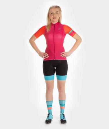 Cycling jersey bib shorts bundle womens 4cyclists evo race prime fuchsia