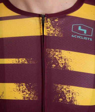 Cycling jersey mens 4cyclists evo aero echelon yellow zipper