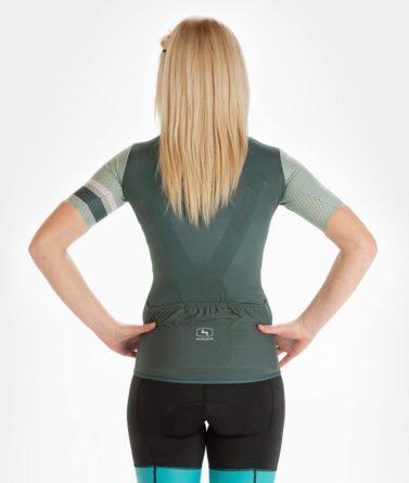 Cycling jersey womens 4cyclists evo aero prime moss green back