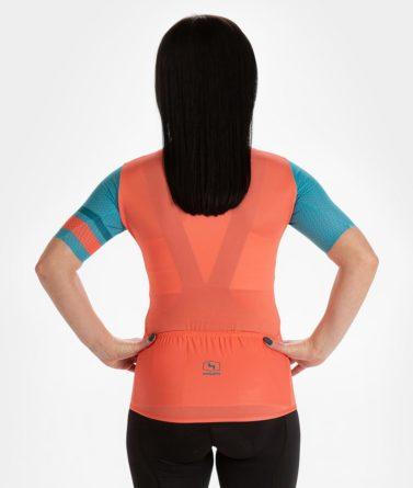 Cycling jersey womens 4cyclists evo aero prime salmon back
