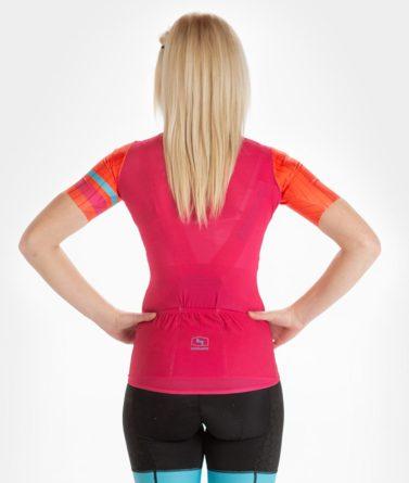 Cycling jersey womens 4cyclists evo race prime fuchsia back