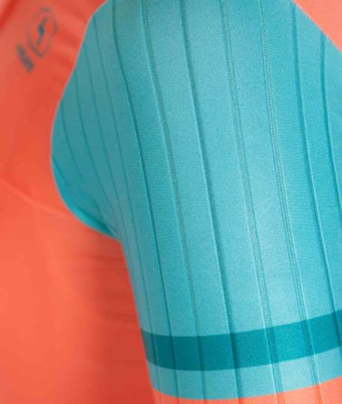 Cycling jersey womens 4cyclists evo race prime salmon details materials